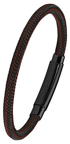 s.Oliver Herren Armband 21cm Edelstahl IP Black schwarz braun