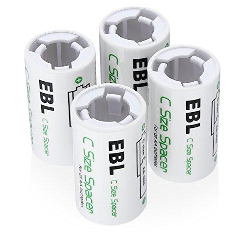 EBL 4 x Caja de Adaptador de Pilas AA a C, Pilas AA y Pilas C