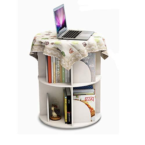 Librerías Estante para Libros Estantería giratoria Creativa Biblioteca Blanca estantería Simple Estudiante Estante Multicapa (Color : Blanco, Size : 40x40x66cm)