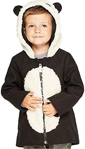 Cat & Jack Toddler Boys' Panda Faux Wool Overcoat Black 12M