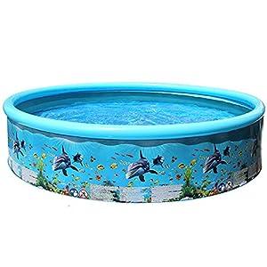 Zhang-StrongAn Piscina Plegable Piscina Redonda para niños Suministros de Fiesta al Aire Libre de Verano para niños Piscina de patrón de Peces de océano para Adultos