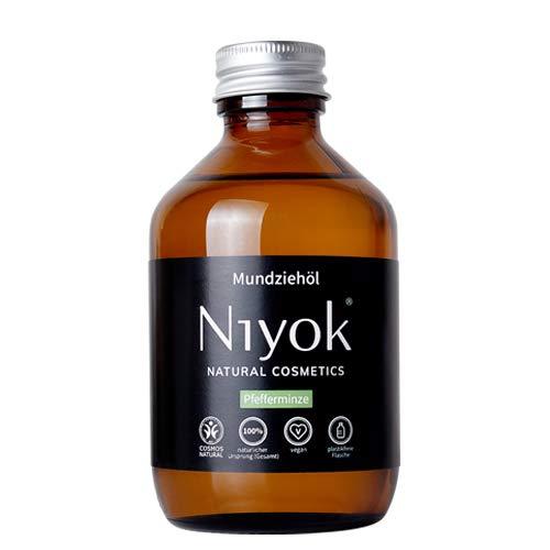 Niyok® Mundziehöl aus Kokosöl | Bio Naturkosmetik Sensitiv auch für Kinder | Xylit Herbal | natürliches Mundziehöl VEGAN | Pfefferminze (200ml)