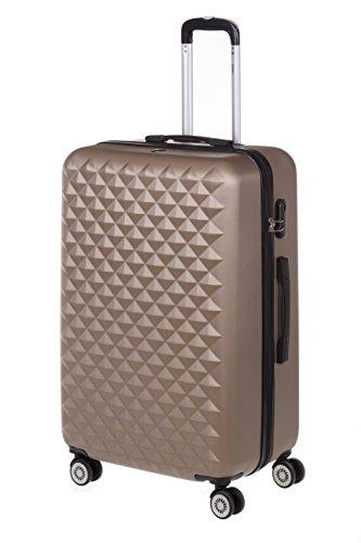 Hartschale Koffer Trolley MONACOGr. XL, 75cm, 110 Liter mit 360° Rollen und Zahlenschloss (iced Coffee)