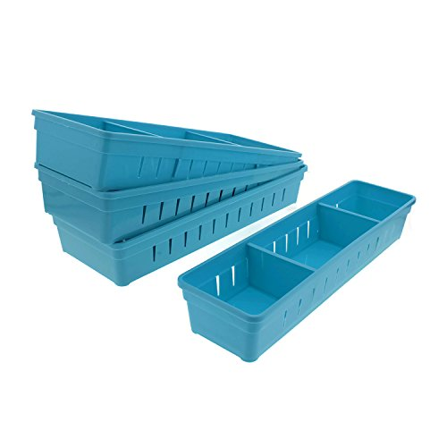 Cheftor Plastic Storage Drawers Drawer Organizers with Dividers for Stationery, Makeup, Silverware, set of 4 (Blue)