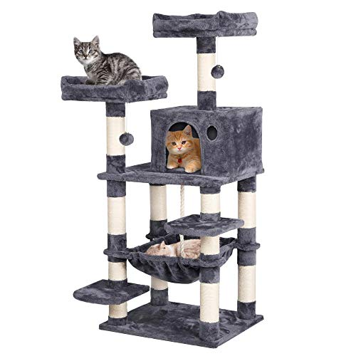 Yaheetech Multi-level Cat Tree Tower, Cat Stand, Kitten Activity Centre with 8 Sisal Cat Scratching Posts/Condo/ 2 Plush Perches/Hammock for Medium/Large Cats