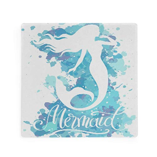 Olinyou Watercolor Mermaid Fantasy Fish Blue Coaster for Drinks 1 Pieces Absorbent Moisture Absorbing Ceramic Stone Square Coaster with Cork Base