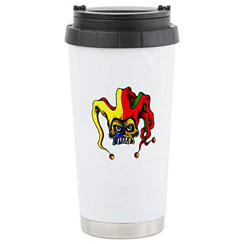 CafePress Evil Joker Clown Tattoo Stainless Steel Travel Mug Stainless Steel Travel Mug, Insulated 16 oz. Coffee Tumbler