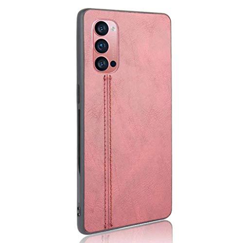 GOGME Hülle für Oppo Reno 4 Pro 5G (Oppo Reno4 Pro 5G) Hülle, Ultra-Slim Silikon Handyhülle Leder-Erscheinungsbild Retro Schutzhülle, Stoßfeste Handy-Tasche für Oppo Reno 4 Pro 5G (Oppo Reno4 Pro 5G), Rot