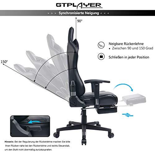 GTPLAYER Sedia Gaming Ufficio da Scrivania Poltrona Ergonomica Sedie da Gaming ad Altezza Regolabile con Poggiapiedi e Bracciolo Regolabile, Nero