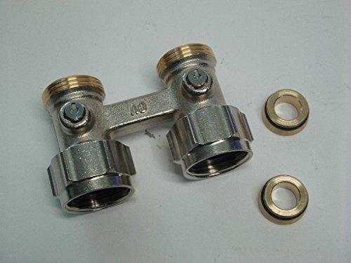 Zweirohr - Hahnblock, selbstdichtend, absperrbar, Durchgang, G 3/4 ÜM x G 3/4 AG