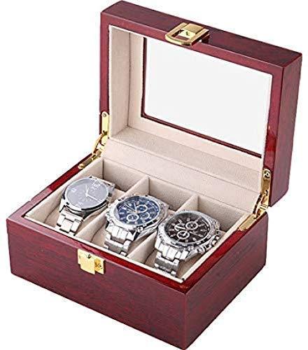 DFJU Caja de Reloj Hombres de cajones Caja de Bandeja de Valet para Hombre Cubierta de Vidrio Soporte Organizador de Madera Maciza con Fino