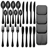 Ansukow 20 Pieces Black Silverware Set with Silverware Tray,18/8 Stainless Steel Flatware Set,Mirror Polished Cutlery Utensil Set,Easy to Clean,Dishwasher Safe