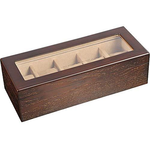 YIQIFEI Vintage Holzuhr Display Aufbewahrungskoffer Truhe mit Glasplatte Hält 6 Uhren