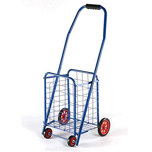 Caddie De Course, Portable Supermarché Epicerie Panier, Grande Capacité Pliable Escalade Panier, Portance 15 Kg,Bleu