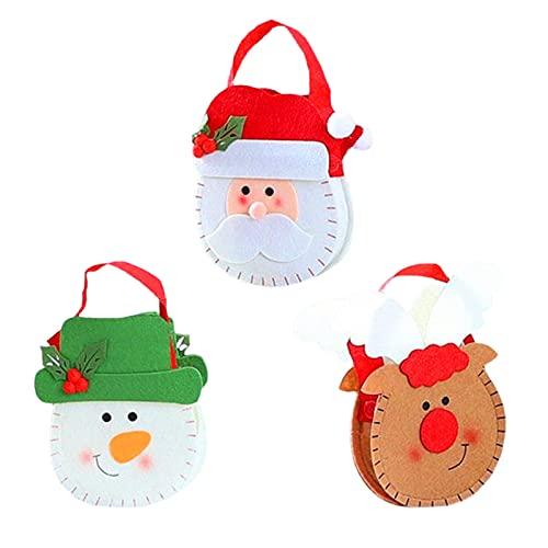 HIOODJO 3 bolsas de dulces para decoraciones navideñas, bolsas de regalo de fieltro de Navidad con asas, bolsa para dulces de boda para regalos de fiesta de Navidad