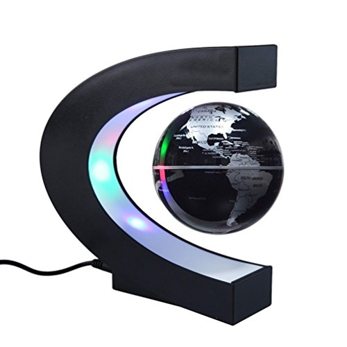 KINGMAS 地球儀 磁気浮上 浮遊 回転型 世界地図 LEDライト付き 点灯 球体 3色 電磁誘導マグネットグローブ 雰囲気作り 飾り用品 教学用 ブラック