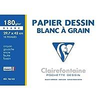 Clairefontaine 96185C Mappe Zeichenpapier (180 g, 29,7 x 42 cm, 10 Bögen, ideal für Kunstunterricht, geleimt) weiß
