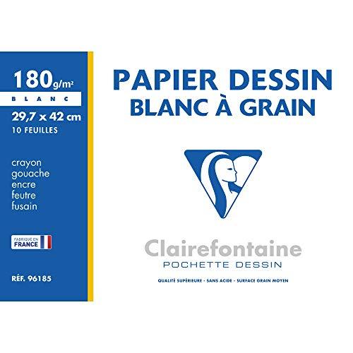 Clairefontaine 96185C Confezione Carta Disegno Ruvida, 43.2 x 30.5 x 0.4 cm, Bianco