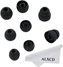 ALXCD Ear Tip for LG HBS Series Wireless Earphone, SML & Double Flange Silicone Replacement Earbud Gel Tip, Fit for LG HBS-750 770 800 810 900 910 Tone Pro Ultra Plus Infinim [4 Pair] (Black)