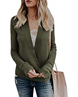 Woman Casual Long Sleeve Wrap Front Knit Top Loose Fit Jumper Cozy Pullover Sweaters for Women Army Green L