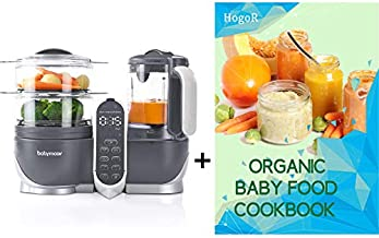 Babymoov Baby Cook Duo Baby Food Maker Steamer and Blender, Baby Food Maker for Infants and Toddlers 6 in 1 Baby Food Processor, Defroster, Sterlizer, Bundled with HogoR Organic Baby Food Cookbook