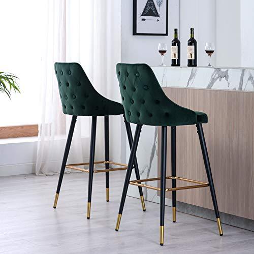 Wahson Set di 2 Sgabelli da Bar in Velluto Sedia Alta da Cucina con Schienale e Poggiapiedi, Moderno Sedie da Bar per Colazione Gambe in Metallo, Verde