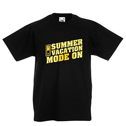 Camiseta Niños/Niñas Vacaciones de Verano - Modo Activado - Último día de Clases/Ideas de Regalos de graduación (14-15 Years Negro Multicolor)