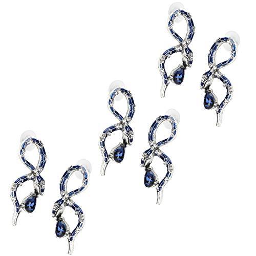 Tomanbery Pendientes de botón de Serpiente Aleación de Metal Brillante Similar a una Serpiente Exquisita joyería Creativa Pendientes Pendientes de múltiples Paquetes Accesorios de Mujer 3 Pares para