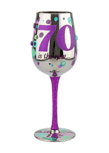 Funny 70th Birthday Wine Glass with Rhinestones