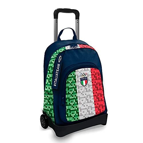A & F CONI Zaino Italia Team ITA, Zaino con trolley staccabile, 1 Ruota, Chiusura zip e spallacci regolabili, Zaino impermeabile con tessuto ecosostenibile (Pixel)