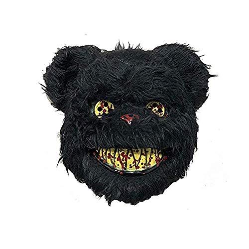 kuaetily Halloween Maske Blutige Plüsch-Hasenmaske Schwarzbärmaske Braunbärmaske Halloween Ghost Festival Mask Für Festival Party Halloween Kostüm Erwachsene (Schwarzbär)