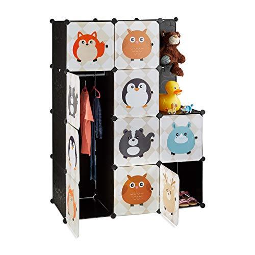 Relaxdays Scaffale Componibile per la Cameretta dei Bambini, Immagini di Animali, con Ante e Bastone Appendiabiti, Colorato