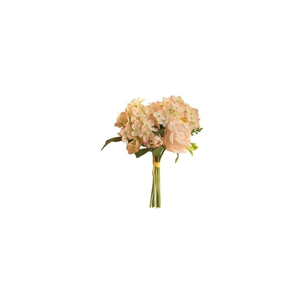 Huccz Artificial Fake Flowers Plants Silk Peony Floral Arrangements Wedding Bouquets Hydrangea Decorations Plastic Floral Table Centerpieces Home Kitchen Garden Party Decor Silk Flower Arrangements