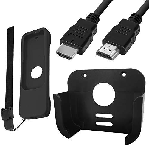 Supporto per TV, custodia protettiva e cavo HDMI ad alta velocità, compatibile con Apple TV 4a e 4K di 5a generazione, SourceTon montaggio a parete compatibile con Apple TV 4/4K 5a generazione