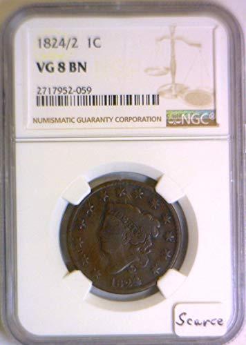 1824 P Coronet Head (1824/2) N-1 Cent VG-8 NGC