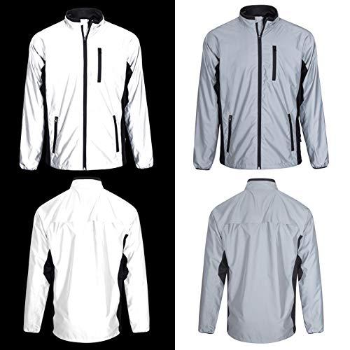 BTR stark reflektierende Jacke in Silber - reflektierende Fahrradjacke oder Laufjacke für Herren. XL 112-117 cm