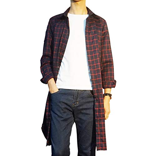 [Make 2 Be] ロング チェックシャツ 長袖 ロング丈 メンズ スリム ネルシャツ MF82 (12.Red_L)