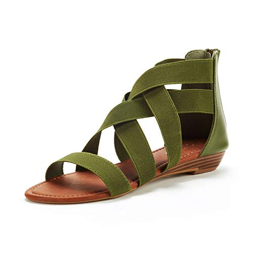 DREAM PAIRS Women's Elastica8 Army Green Elastic Ankle Strap Low Wedges Sandals Size 6.5 M US