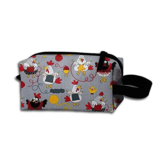 Red Chickens Grey Travel Bag Printed Multifunction Portable Toiletry Bag Cosmetic Makeup Pouch Case Organizer for Travel.