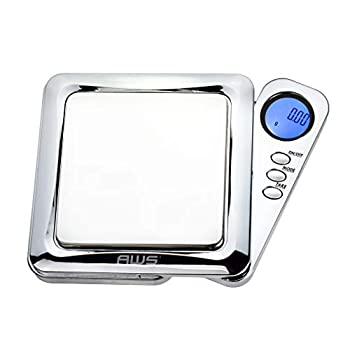 American Weigh Scales Blade Series Digital Precision Pocket Weight Scale with Silicone Mat Chrome 100g x 0.01g  BL-100-CH-SE