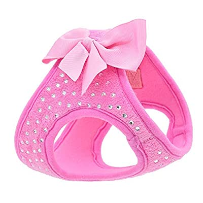 KLCW Dog Harness pet Chest Strap Bow tie Vest Flannel Lining Comfort fit Diamond Super Soft Material Suitable for Small Dogs can not be Adjusted Maximum Size 16.53in Minimum Size 14.96in