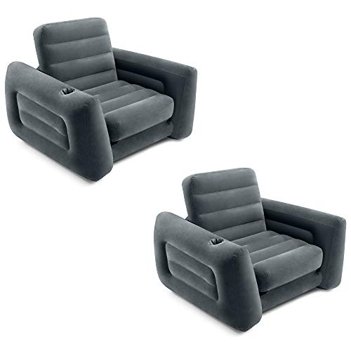 Intex 66551EP Inflatable Pull-Out Sofa Chair Sleeper That Works as a Air Bed Mattress, Twin Sized (2 Pack)