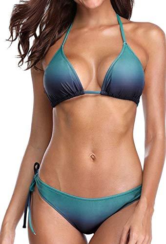 CharmLeaks Women String Bikini Halter 2 Piece Bathing Suits Tie Side Swimwear M