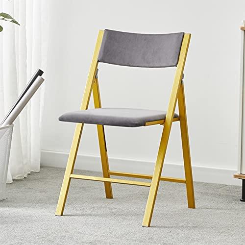 Folding chair Silla Plegable con Respaldo Alto, Silla De Ocio Al Aire Libre, Taburete Plegable De Hierro, Gris, Verde, Fuerte Capacidad De Carga (Color : Gray)