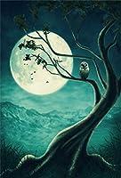 Qinunipoto 背景布 ハロウィン happy halloween 写真の背景 背景幕 写真背景 枯れ木 丸い月 フクロウ 人物撮影 恐ろしい背景 写真ブース撮影 ハロウィン様式 撮影用 cosplay背景 ビニール 1.5x2.1m