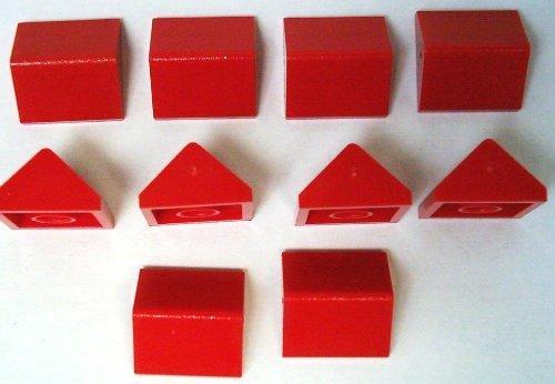 LEGO 10 Stück Schräg / Dachstein 45° Firststein 2x2 Noppen in rot.