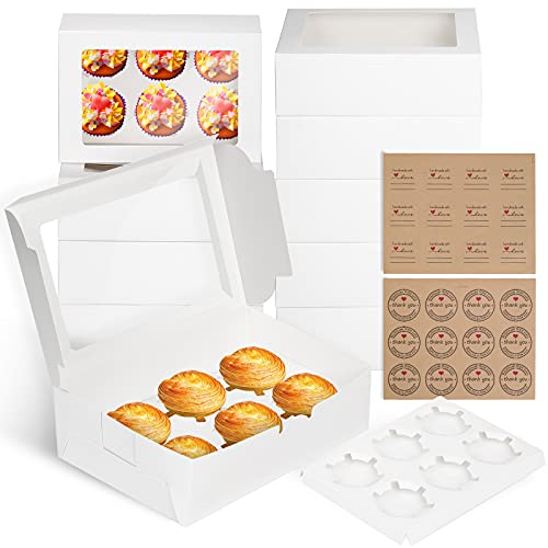 Bigqin 10pcs Boîte Gâteaux Cupcakes avec Fenêtre Transparente Boîte D'emballage Carton à 6 Cavités Cuisson pour Pâtisseries Biscuits Muffins Mariages Boîte-cadeau Enfants DIY, Blanc, 24*15.5*7.6cm