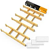 SpaceAid Bamboo Drawer Dividers with Inserts and Labels, Kitchen Adjustable Drawer Organizers, Expandable Organization for Home, Office, Dressers and Bathroom, 6 Dividers with 12 Inserts (17-22 in)