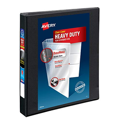 Avery Heavy-Duty View 3 Ring Binder,1' One Touch Slant Rings, Holds 8.5' x 11' Paper, 1 Black Binder (05300)