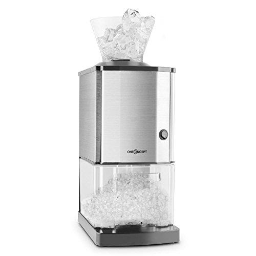 OneConcept Icebreaker - Ice Crusher, Eiscrusher, Eiszerkleinerer, 15 kg/h, 3,5 Liter (etwa 1,75 kg) Eisbehälter, aufsetzbarer Einfülltrichter, Sicherheitsschalter, Saugnapffüße, Silber